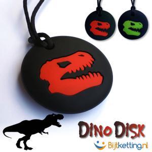 bijtketting dino disk dinosaurus zwart