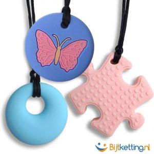 Starterpakket Bijtkettingen Vlinder Roze Puzzle Ronde Bijtketting